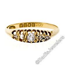 cdd9fe428603 Antiguo Victoriano 18k Oro 0.32ctw Cojín Old Mine y Rosa Diamante Anillo de
