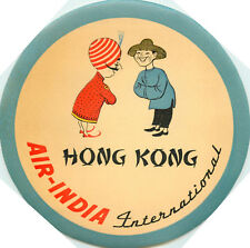 AIR INDIA to HONG KONG - Great Old Destination Luggage Label, c. 1950's