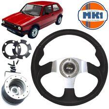 Vw Golf Mk1 Gti Black Leather Polished Motorsport Steering Wheel Boss Kit & Horn
