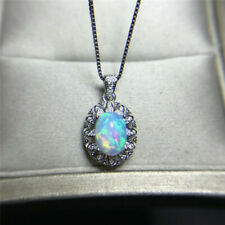 Natural Opal Pendant Necklace, October Birthstone, 18K White Gold Plated Silver