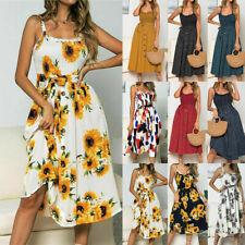 Boho Womens Summer Sleeveless Polka Dot Retro Dress Ladies Beach Floral Sundress