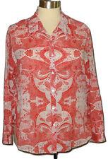 Foxcroft Wrinkle Free Shaped Blouse Plus Sz 20W Cotton Red White Paisley