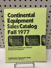 Vintage Continental Equipment Sales Catalog Fall 1977 Test Equipment Cool Diy