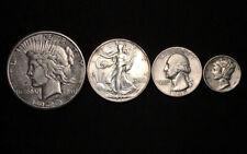 90% Silver U.S. Coin Lot Peace Dollar Walking Liberty Half Quarter Mercury Dime