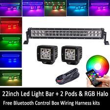 "Bluetooth 22"" LED Light Bar + 3"" CREE Cube Pods & Chasing RGB Halo Ring Strobe"