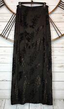 Carole Little Brown Velvet Burnout Crinkle Skirt Pull On Maxi Lined Small