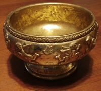 "VTG 1996 6.5"" Tall Bombay Gold Gild Ceramic Ornate Decorative Bowls Cherub Angel"