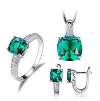 3in1 Jewelry Set 925 Silver Gemstone Crystal Earrings/Pendant/Ring Round Cut CA