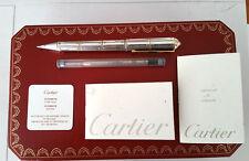 Cartier Sterling Silver & Gold Ballpoint Pen Santos De Cartier  Box & Papers