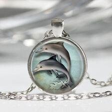 Women/Men Glass Cover Vintage Art Pendant Silver Chain Necklace Keynote AU31