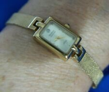 ARMITRON NOW DIAMOND 75 2374 MESH BAND GOLD TONE WATCH NEW BATTERY WORKS A25