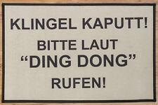 Fußmatte Schmutzfangmatte Fußabtreter Türmatte beige Ding Dong Klingel kaputt