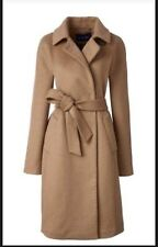 LANDS END 60% Wool Winter Wrap Brown Camel Coat size 16 New RRP £169
