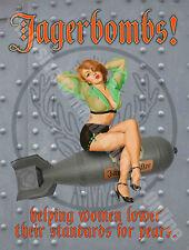 Jagerbombs! 50s Pin-up Girl Bar 105 Funny, Vintage Retro, Small Metal/Tin Sign