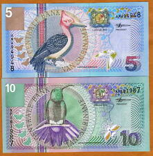 Suriname, 5 + 10 Gulden, Set, 2000, Picks 146-147 UNC > very colorful