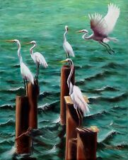 Original Oil Painting of Snowy Egret - Fishing Party, 8x10in, Framed, Signed