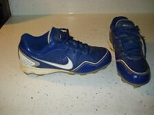 NIKE KEYSTONE Boys Baseball Shoes Size 5.5 Y L@@K !!! BLUE WHITE GRAY