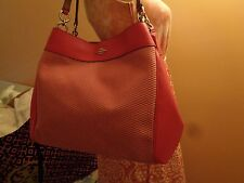 NWT COACH LEXY Legacy Leather/Jacquard Shoulder Pink/Silver F57540 $375