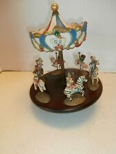 Antique/Vintage Carouselwithclown Rider Music Box Wood And Ceramictop Decor