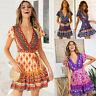 Women V Neck Boho Floral Ruffled Mini Dress Ladies Summer Beach Party Sundress