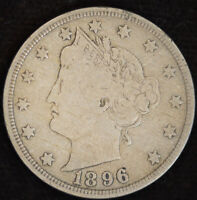 1896 Liberty Nickel, V Nickel, Very Fine Condition, Free Shipping in USA, C4703