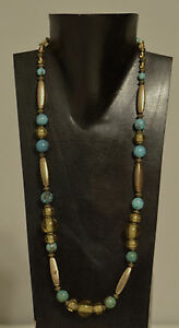 Necklace Chinese Turquoise Czech Yellow Glass Beaded Necklace