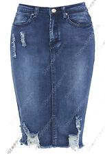 New Women Distressed Denim Pencil Stretch Jean Skirt Rip Blue Size 8 10 12 14 16