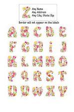 30 Return Address Labels Alphabet Monogram Floral Buy 3 get 1 free (F1)