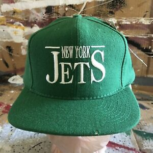 NEW VINTAGE NEW YORK JETS NFL ANNCO WOOL SNAPBACK HAT EMBROIDERED NWT DS
