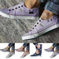 Women Canvas Loafers Slip On Flat Trainers Casual Pumps Comfy Shoes Comfort