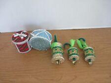 Vintage Lot of 5 Handmade Glitter Drum Christmas Ornaments