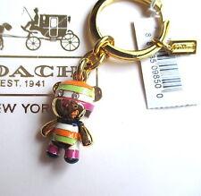 NWT Coach Legacy Stripe Pave Rhinestone Teddy Bear Key Fob Keychain Charm RARE