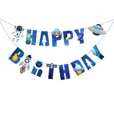Space Spacecraft Happy Birthday Paper Banners Bunting Party Decorations Garland