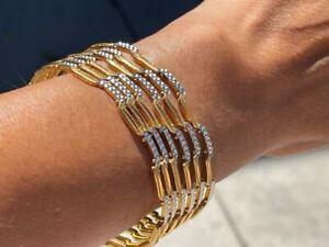 Diamond Cut Zig-Zag 20K Yellow Gold Bangle Bracelet 72.57 Grams