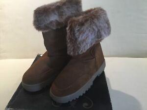 Rampage Ashlee Whiskey Swede 6 M Boot New Flat Heel Brown Faux Fur Lining