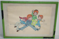 Antique / Old Folk Art Watercolor Painting Children Picnic Time