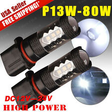 2X White High Power 80W P13W LED Bulbs For Chevy Camaro Fog Driving Light 12-24V