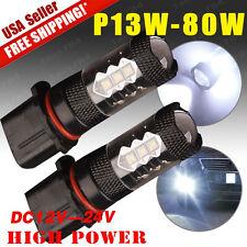 2X White High Power 80W P13W LED Bulbs For Chevy Camaro Fog Driving Light 12-24V
