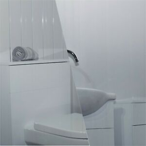 12 X White Gloss/White Gloss With Two Chrome Inlays Wall Bathroom Panel PVC