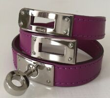 Hermes Kelly Double Tour Bracelet Purple Leather Silver Closure Excellent