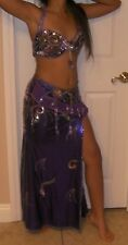 Professional Egyptian hand-made Lycra Stretch 2pieces Belly Dance Costume