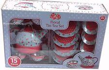 15 PIECE FLORAL DESIGN TIN TEA SET & TRAY Kids children toy set