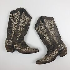 Women's Corral 6.5 Brown Crater Bone Embroidered A1094 Cowboy Boots