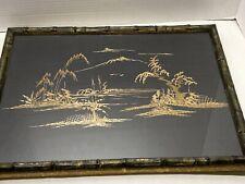 Vintage Straw Painting Asian Art Mountain Bamboo Reed Black Cloth Original 16x13