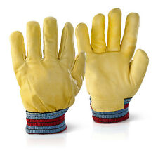 FLEECE LINED HIDE LEATHER  LORRY DRIVERS COLD STORE FREEZER SAFETY GLOVE