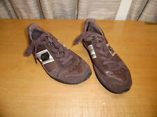 DIESEL FOOTWEAR BROWN CHEJU LACE UP LEATHER SUEDE SNEAKERS SHOES SIZE 6.5