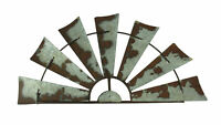 Zeckos Rusty Weathered Metal Half Windmill Wall Hanging