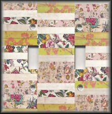 Metal Light Switch Plate Cover - Shabby Chic Mixed Floral Home Decor Pink Yellow