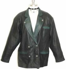 BLACK LEATHER German Women Ranch JACKET Coat 44 18 XL
