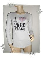 A - Magnifique Haut T-shirt Manches Longues Blanc Pepe Jeans Taille L